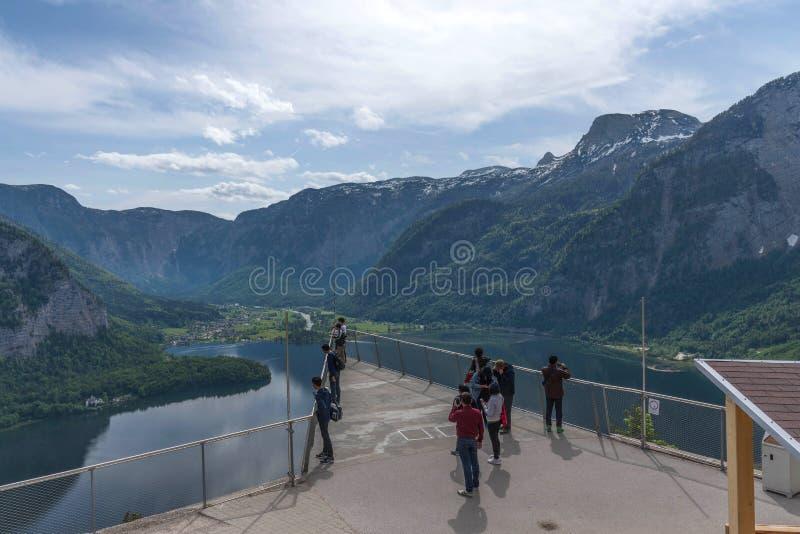 Hallstatt, Austria - May 2, 2018: Skywalk of Hallstatt. World Heritage View in Hallstatt, Austria stock images