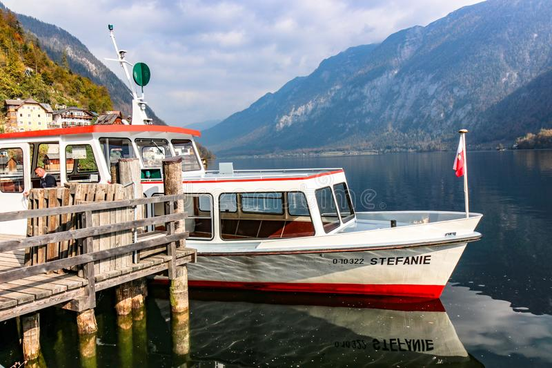 The Boat Travel Cruise, Prepare to Sail with Lake of hallstatt, austria. Hallstatt, austria - Oct 20 2018 : The Boat Travel Cruise, Prepare to Sail with Lake of stock photos