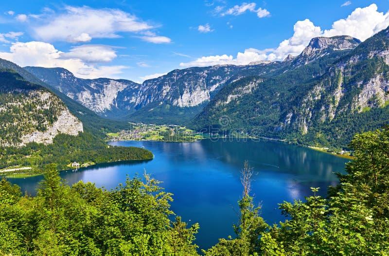 Hallstatt Austria odgórny widok jeziorny Hallstattersee zdjęcie royalty free