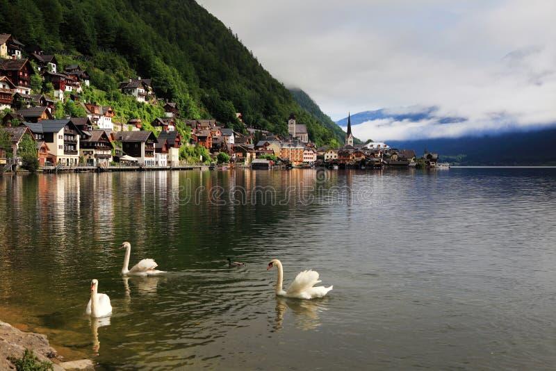 Hallstatt, la ciudad más hermosa del lago del mundo, Austria. fotografía de archivo libre de regalías