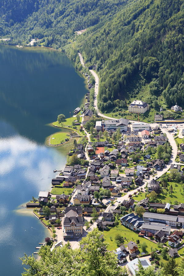 Hallstatt, la ciudad más hermosa del lago del mundo, Austria. imagen de archivo libre de regalías