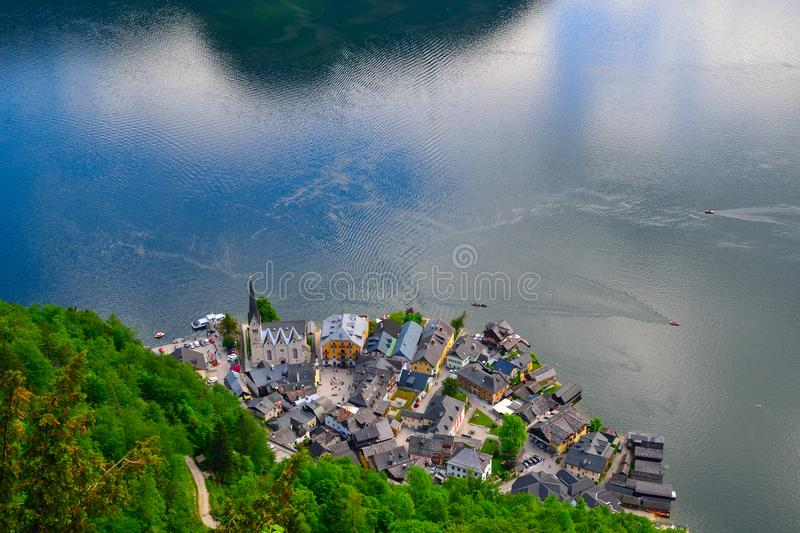 Hallstatt laake montaine. The community at Hallstatt exploited the salt mines in the area, which had been worked from time to time since the Neolithic stock photography