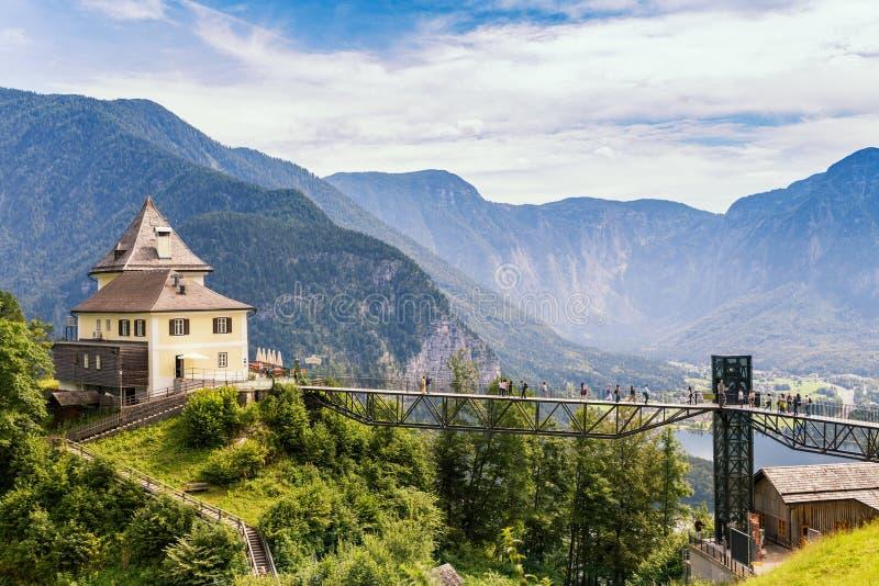 Hallstatt Village view, by the Hallein Salt Mine, near Salzburg, Austria royalty free stock image