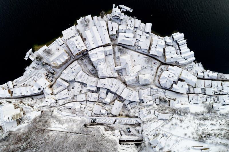 Hallstatt in winter season. Aerial view on historical city Hallstatt in winter season stock images
