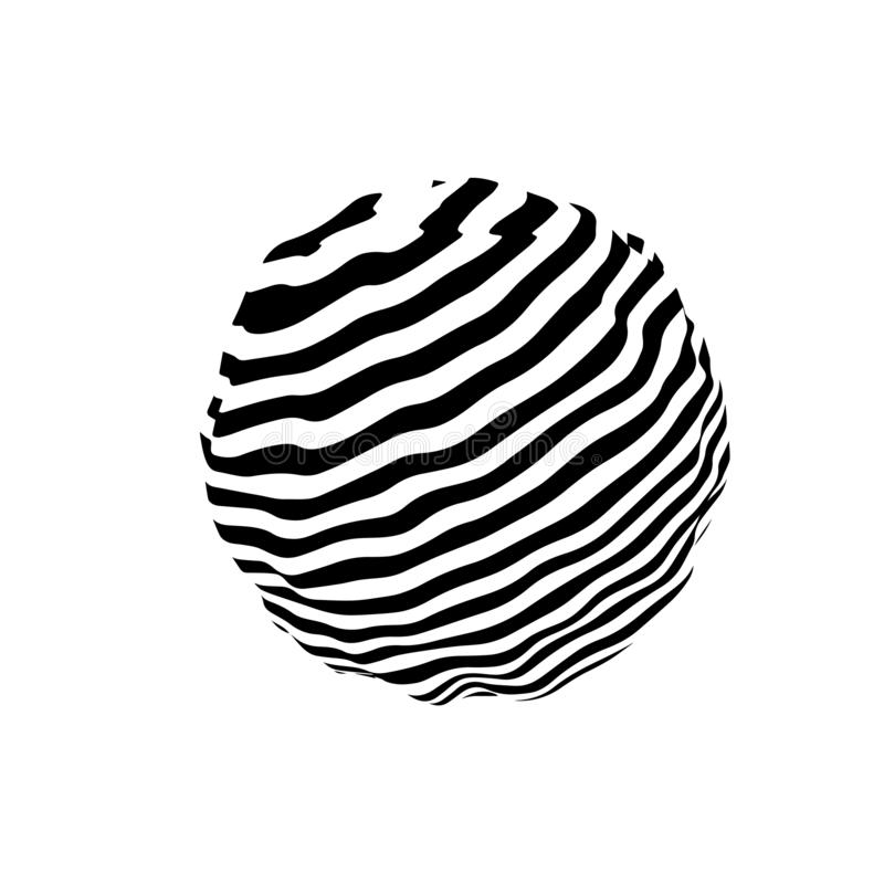 hallucination Ilus?o ?tica Ilustração torcida abstraia o fundo Esfera das listras Onda din?mica Vetor ilustração stock