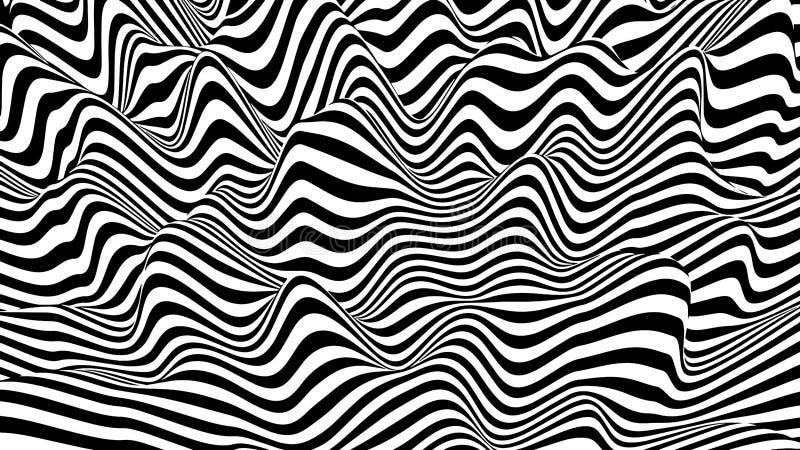hallucination Ilus?o ?tica Ilustração torcida Fundo futurista abstrato das listras Onda din?mica Vetor ilustração royalty free