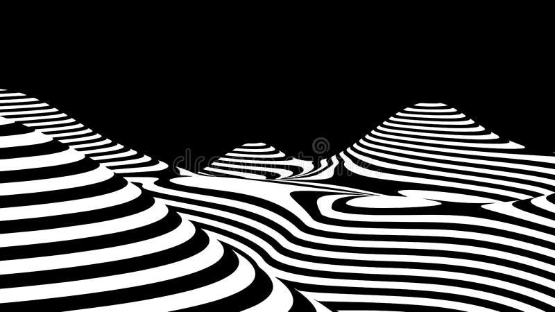 hallucination Ilus?o ?tica Ilustração torcida Fundo futurista abstrato das listras Onda din?mica Vetor ilustração stock