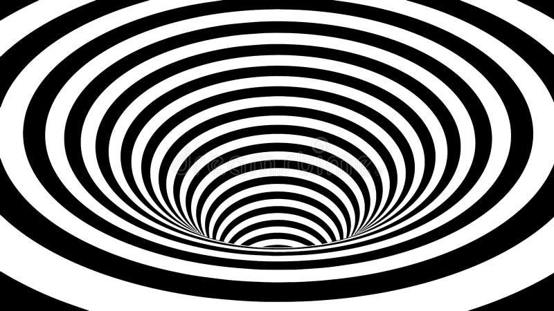 hallucination Ilus?o ?tica Ilustração torcida Fundo futurista abstrato das listras wormhole 3D ou túnel ilustração do vetor