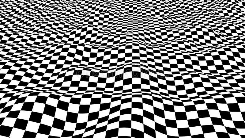 hallucination Ilus?o ?tica Ilustração torcida Fundo futurista abstrato dos quadrados Onda din?mica Vetor ilustração stock