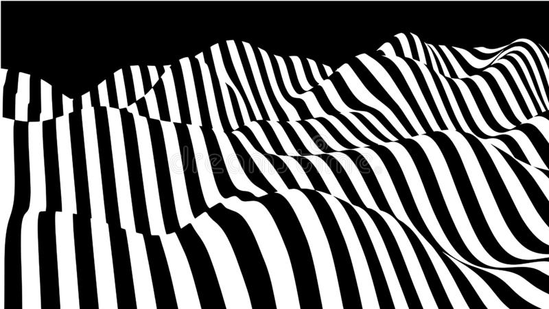 Hallucination. Optical illusion. Twisted illustration. Abstract futuristic background of stripes. Dynamic wave. Vector stock illustration