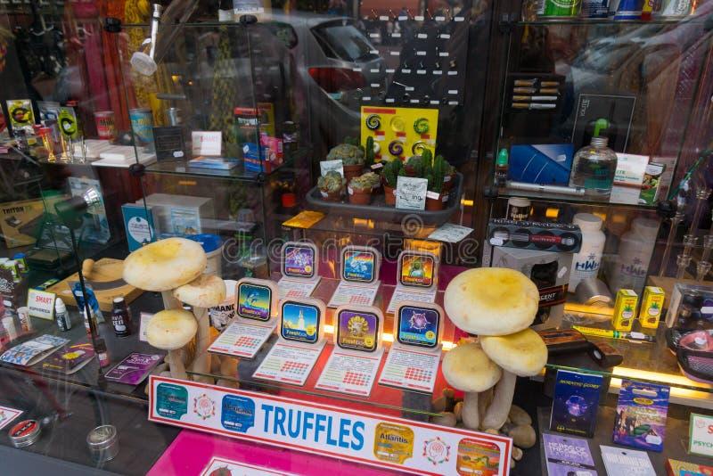 Hallucinogna champinjoner och deras produkter royaltyfri foto