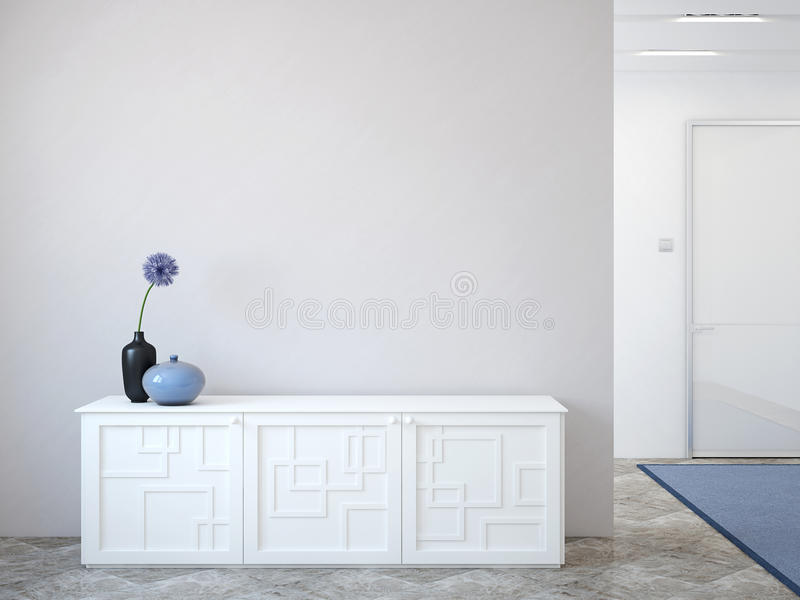 Hallway. Modern hallway with commode near empty gray wall. 3d render