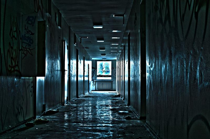 Hallway in abandoned building royalty free stock image