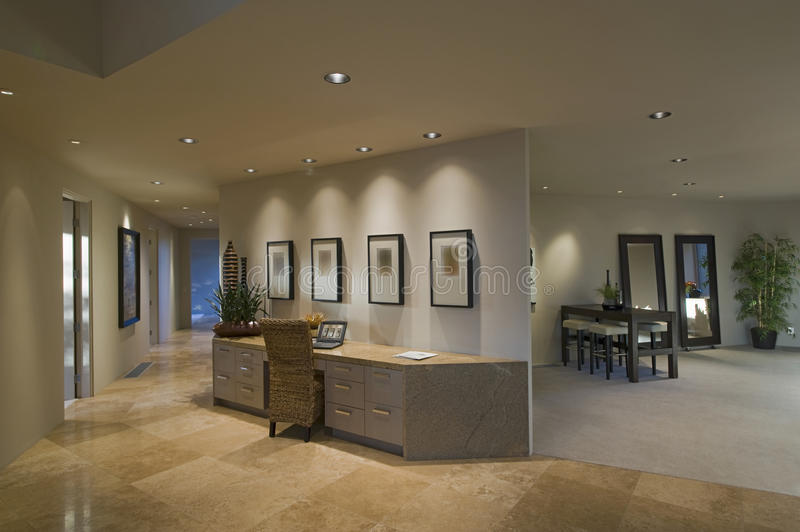 Hallway Along Partition Desk In Luxury Home stock photo