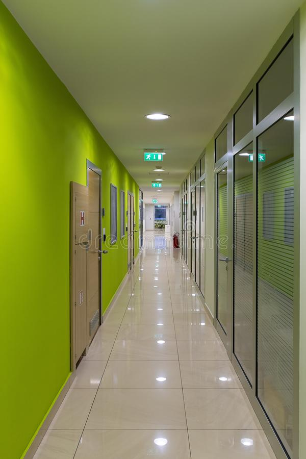 Hallway of business building with offices. Modern Hallway of business building with offices lime color stock images