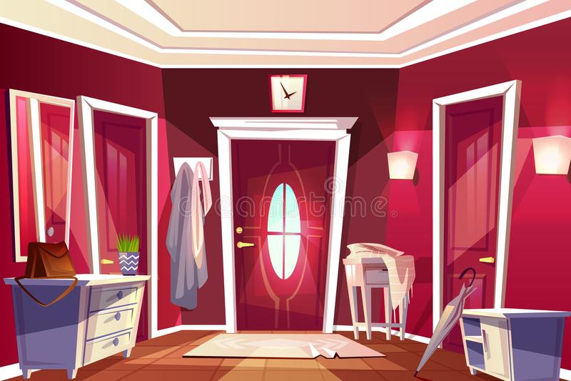 Hallway corridor room interior vector illustration. Hallway room or corridor interior vector illustration of retro or modern apartment with entrance door view stock illustration