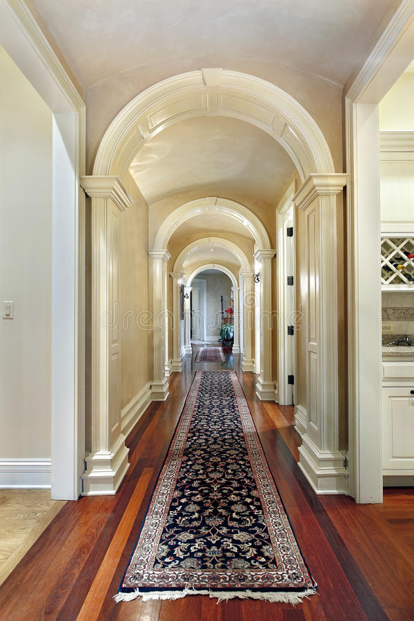 Hallway with curved arches royalty free stock images