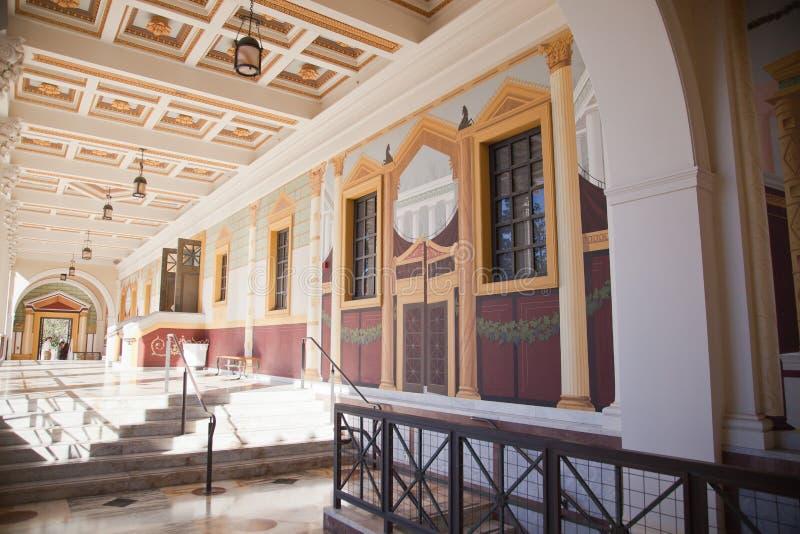 Hallway, Getty Villa, Malibu, California stock photo