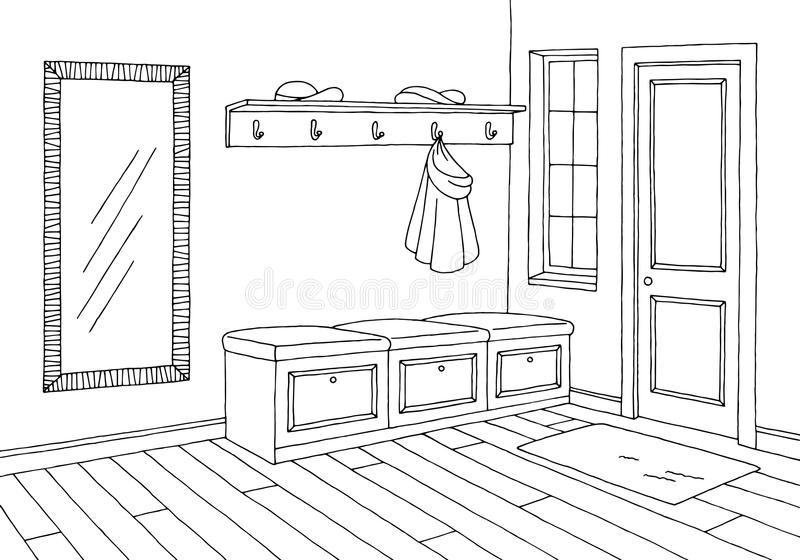 Hallway graphic room black white interior sketch illustration. Vector stock illustration