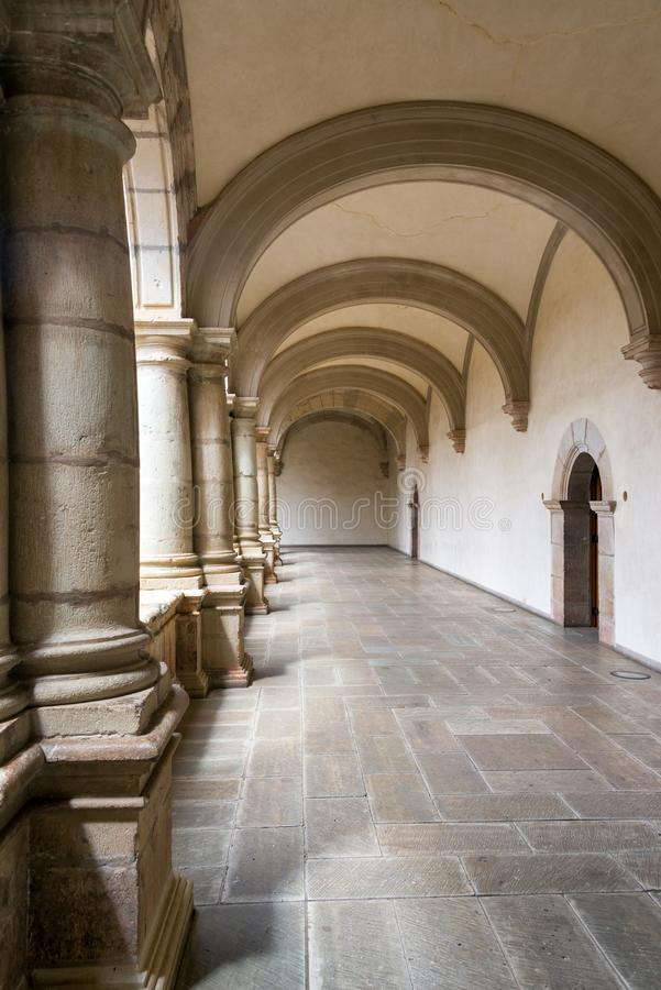 Hallway in Historic Monastery. Hallway in a historic colonial monastery in Oaxaca, Mexico stock photo