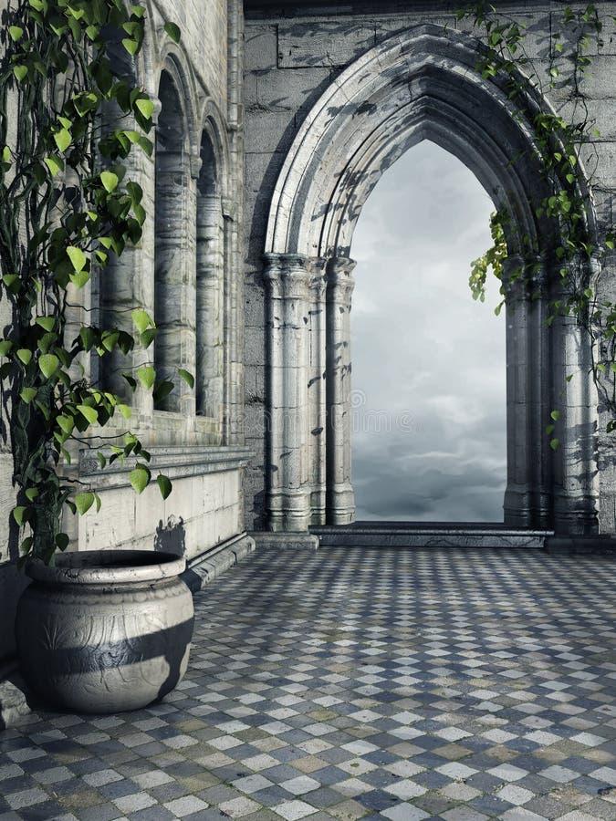 Hallway with ivy stock illustration