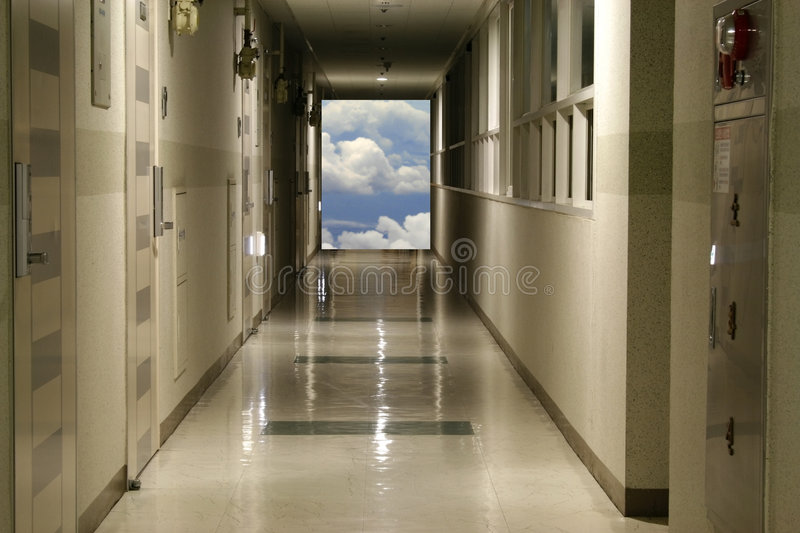 Hallway leads to Sky stock photography