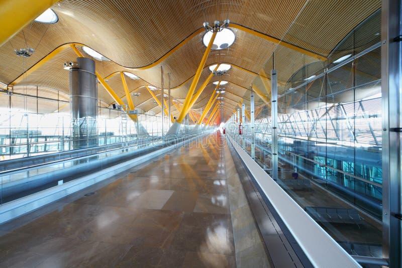 Hallway in Madrid Barajas Airport stock image