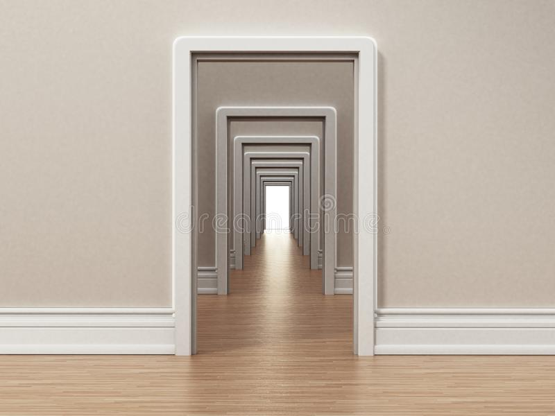 Hallway with many doors opening to each other. 3D illustration vector illustration