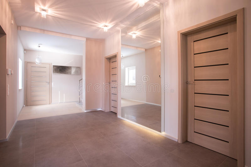 Hallway in modern commodious house royalty free stock photo