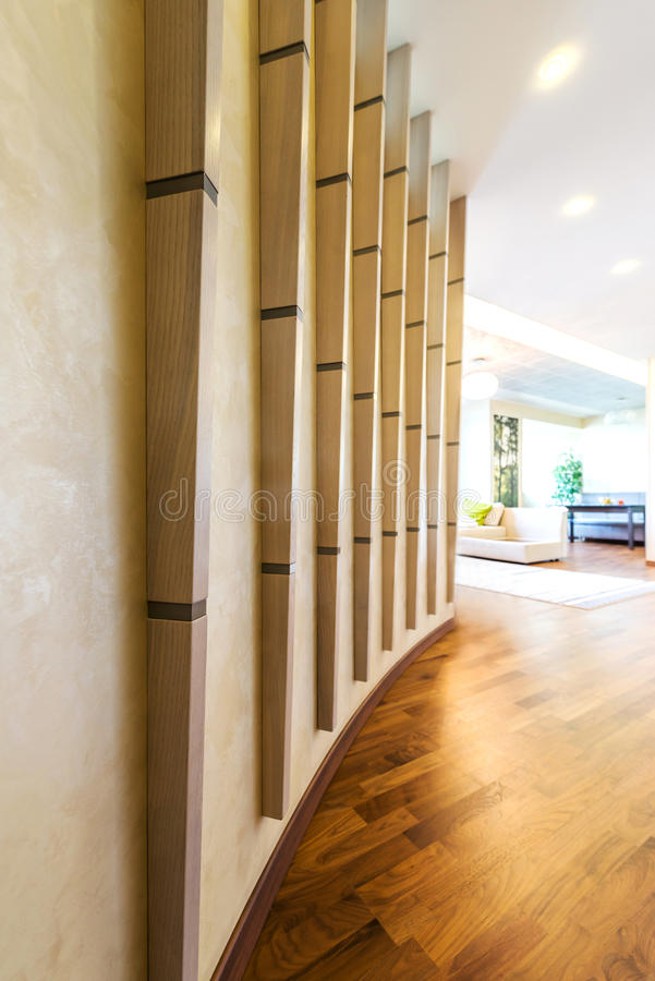 Hallway in smart place. Interior design of Hallway place with wooden floor royalty free stock photo