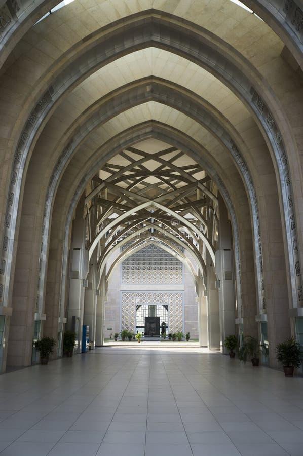 Hallway of Sultan Mizan Mosque , Putrajaya, Malaysia. Hallway entrance to Sultan Mizan mosque in Putrajaya, Malaysia stock photography