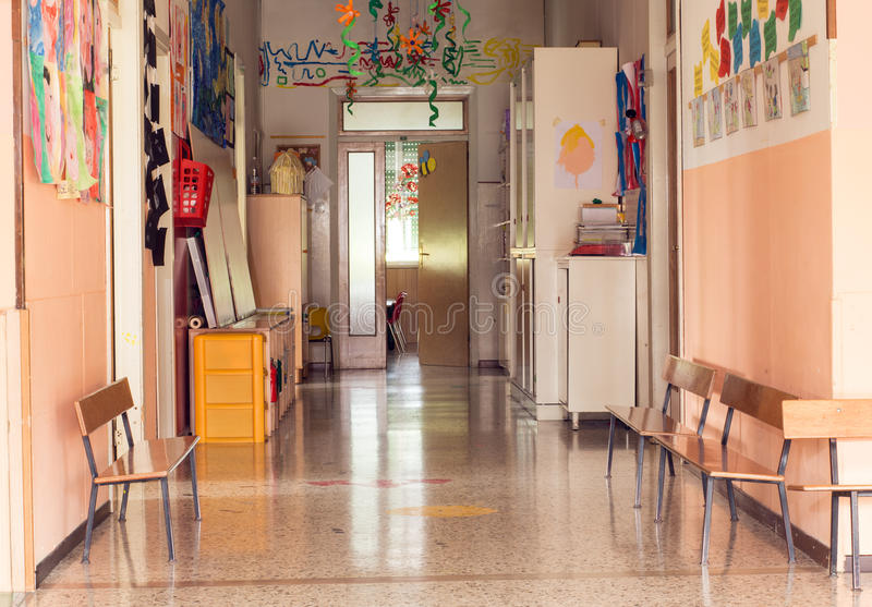 Hallway to a nursery kindergarten without children royalty free stock images