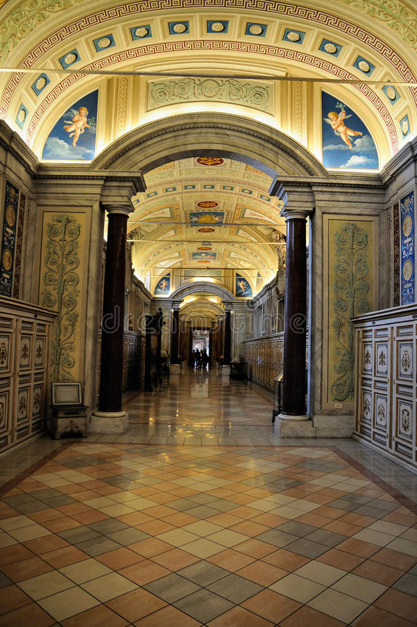 Hallway in the Vatican Museum. One of the Hallways in the Vatican Museum in Vatican City, Rome, Italy stock image