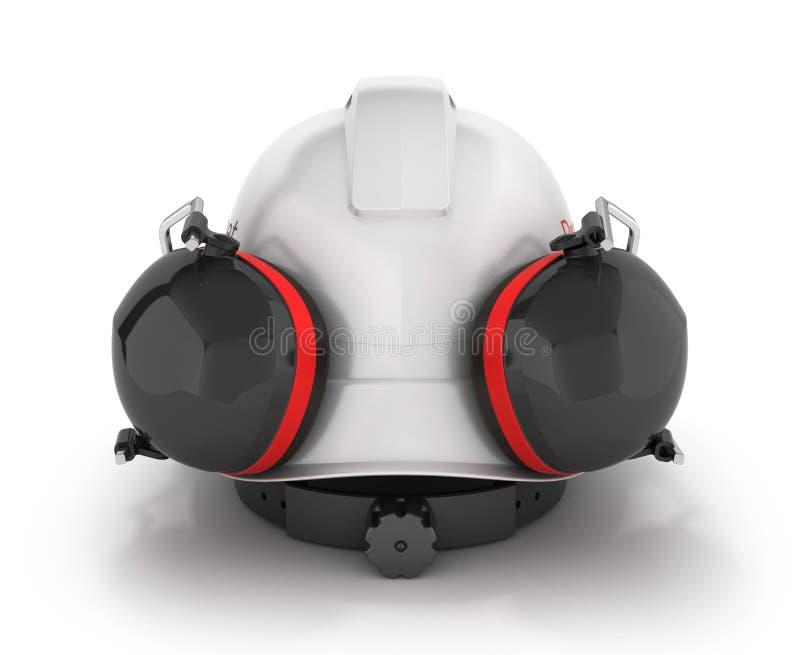 Halmet безопасности трудной шляпы с earmuffs изолированными на белой предпосылке 3d стоковые фотографии rf