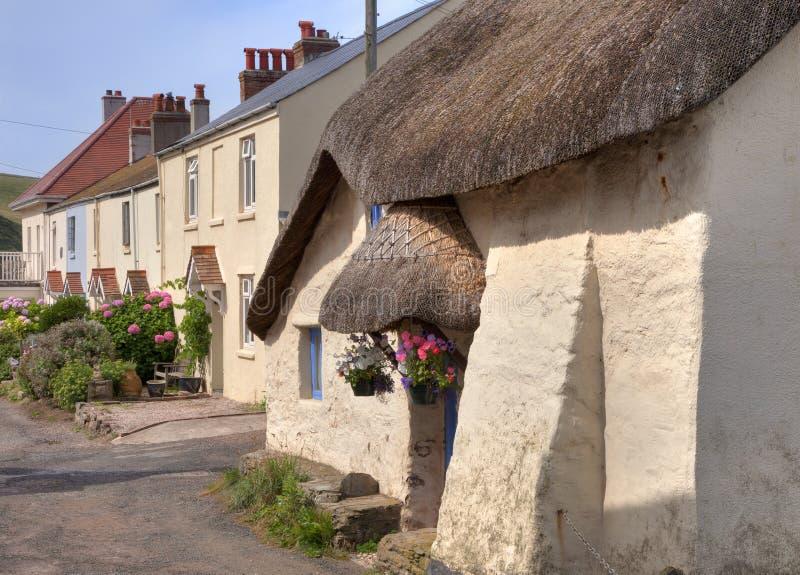 Halmtäckt stuga, Devon royaltyfri fotografi