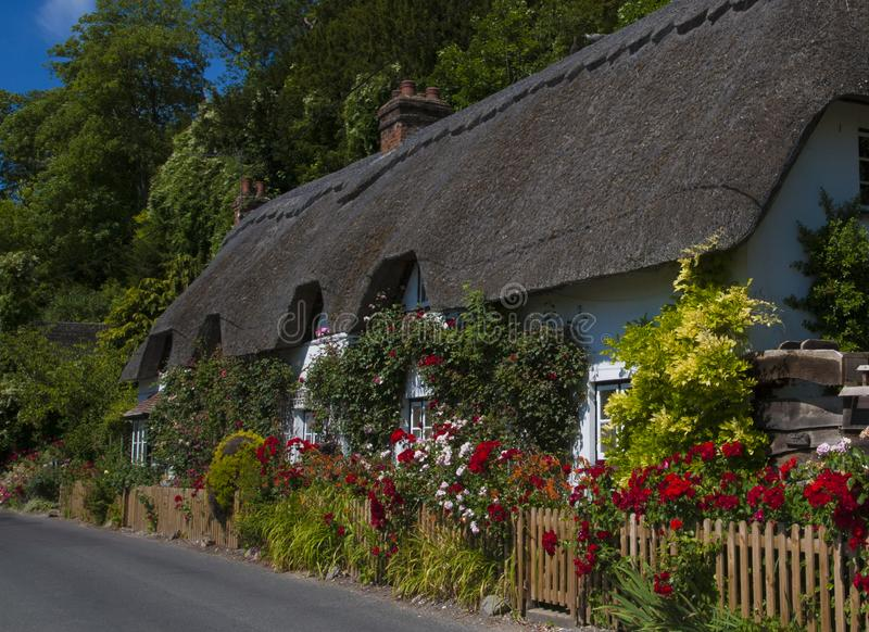 Halmtäckt stuga, Wherwell, Hampshire, England royaltyfri fotografi