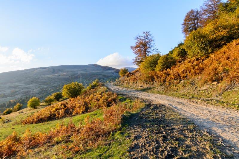 Halna ścieżka w jesień krajobrazie Panoramiczny widok nad górą fotografia royalty free