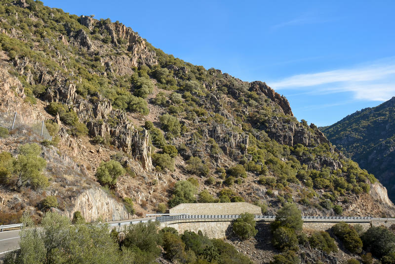 Halna droga na wyspie Sardinia obrazy stock