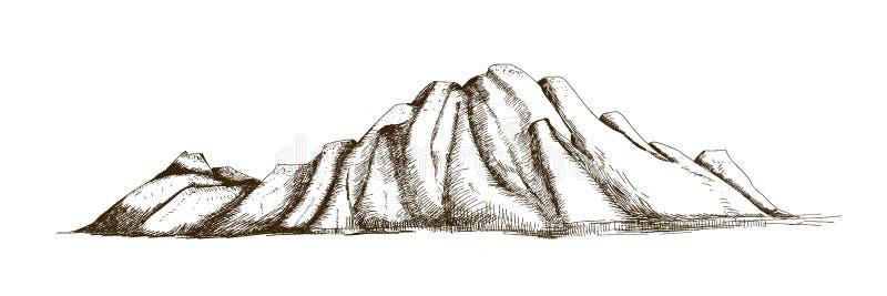 Halna grań lub pasmo ręka rysująca z konturowymi liniami na białym tle Elegancki rocznika rysunek skalista faleza lub ilustracja wektor