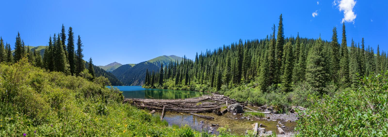 Halna jeziorna panorama obraz royalty free