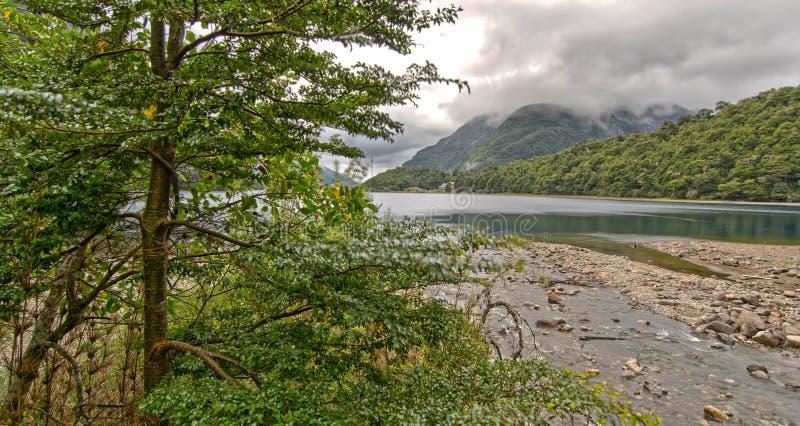 Halna jeziorna szarość chmurnieje zielonych wzgórza i drzewa obrazy stock