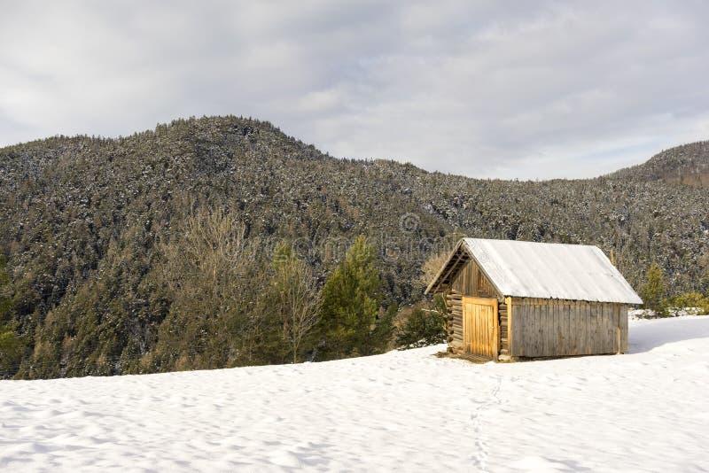Halna kabina w świeżym zima śniegu fotografia royalty free