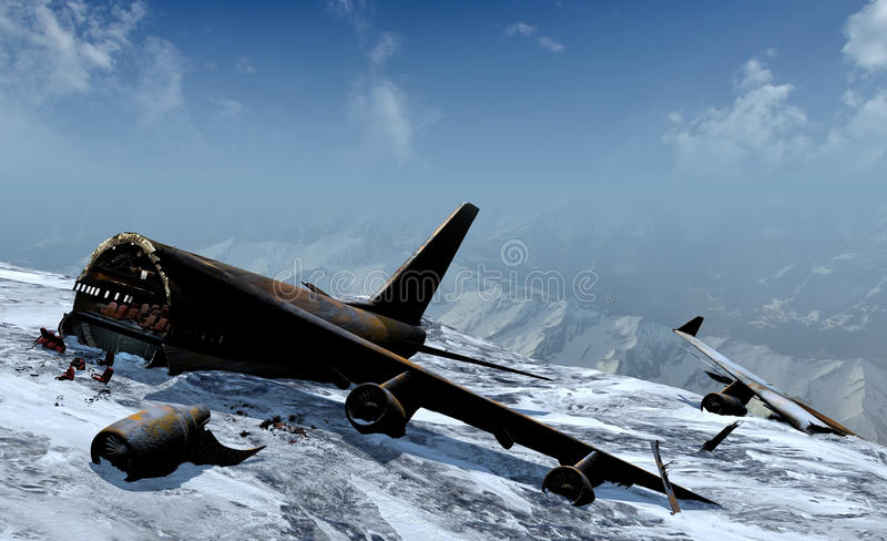Halna katastrofa samolotu ilustracji