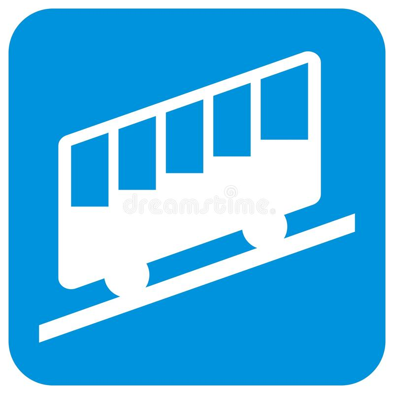 Halna kolej, kabina, sylwetka cableway przy błękit ramą royalty ilustracja