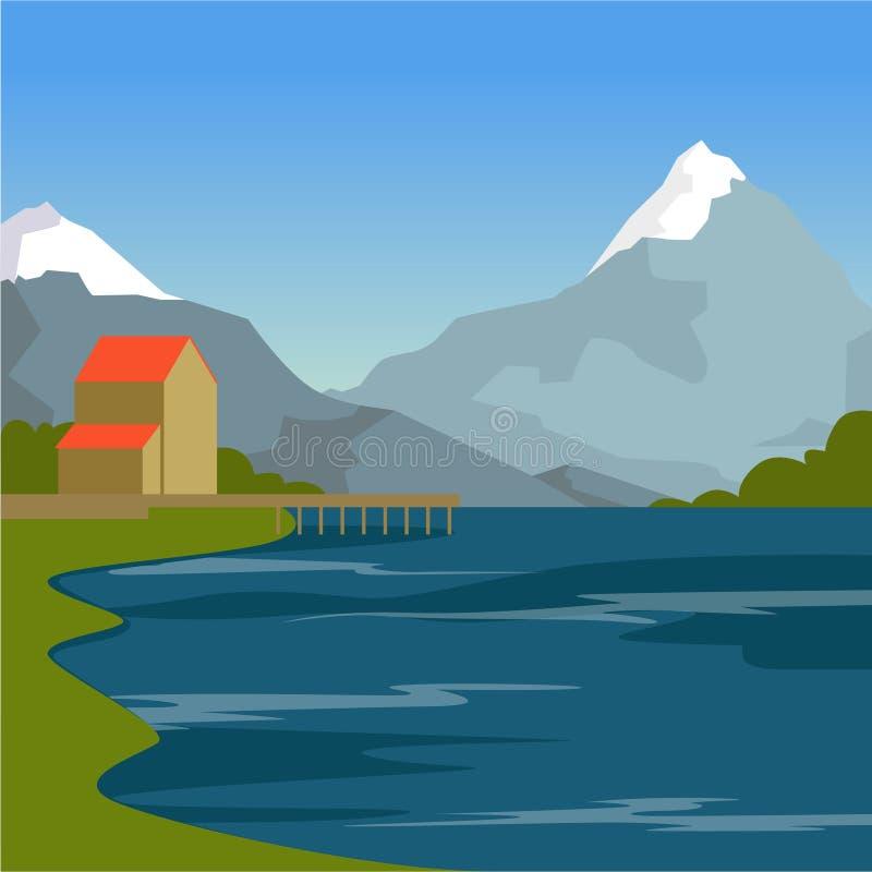 Halna rzeka, dom i góry, lato krajobraz, natury tła wektoru ilustracja ilustracji