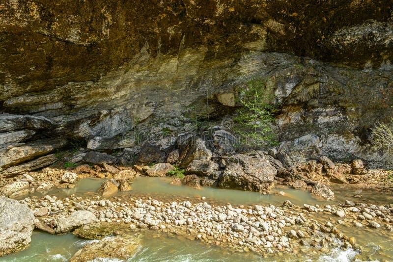 Halna rzeka gotuje si? mi?dzy kamieniami zdjęcia stock