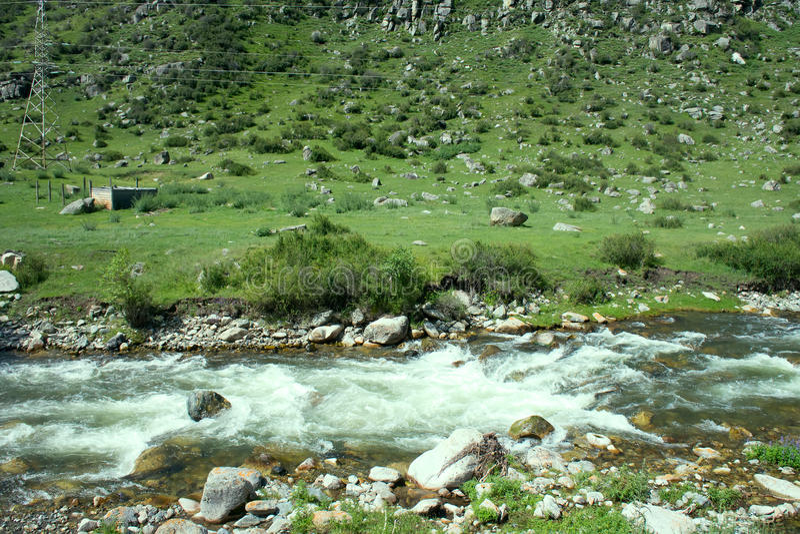 Halna rzeka płynie w lesie pod tendencyjnością obraz royalty free