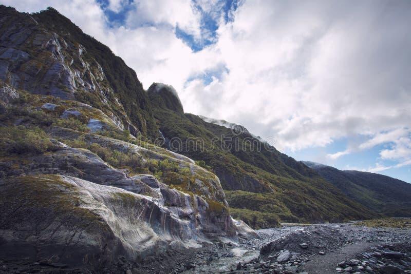 Halna scena w Franz Josef lodowu najwięcej popularnej naturalnej mostownicy fotografia royalty free