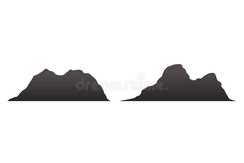 Halne sylwetki przegapiają Wektorowy skalisty wzgórze terenu wektor, góry sylwetka ustawia odosobnionego na białym tle ilustracji