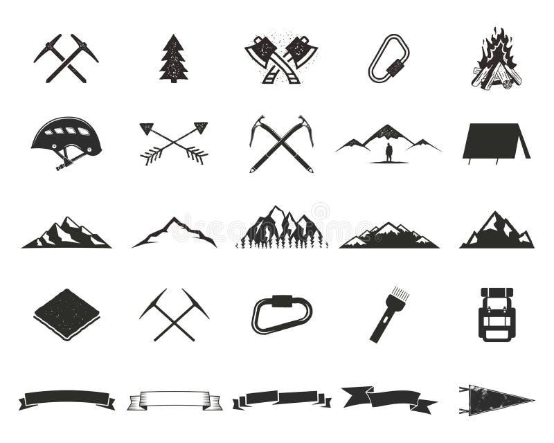 Halne wyprawy silhouett ikony ustawiać Wspinaczki i campingu kształty inkasowi Prości czarni piktogramy Use dla tworzyć royalty ilustracja
